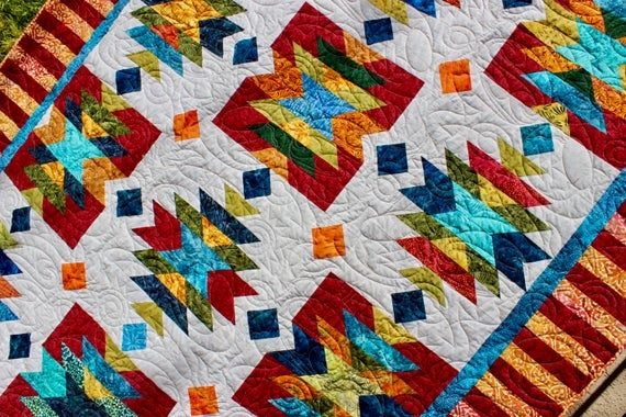 southwest quilt pattern native american american indian size 76 x 96 pdf quilt pattern 9 Stylish Southwestern Quilt Patterns
