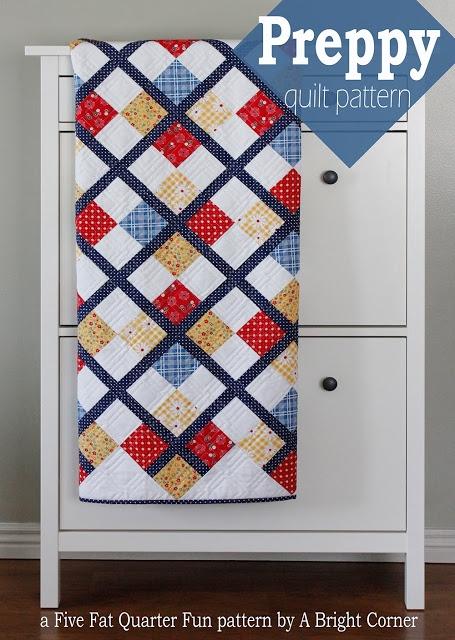 Stylish a bright corner five fat quarter fun preppy quilt pattern 6 Fat Quarter Quilt Patterns Inspirations