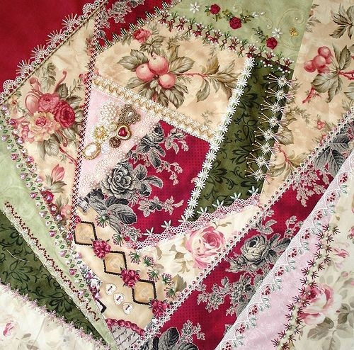 Stylish crazy patch seam treatments and completed block 4 crazy 9 Elegant Crazy Patch Quilt Pattern