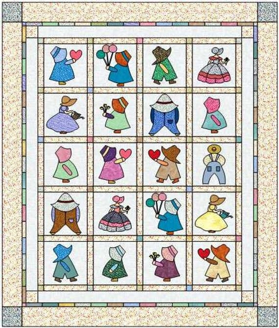 Stylish digital quilt pattern sunbonnet sue and overall sam quilt pattern 11 blocks instant download pdf quilt pattern 10 Cozy Sunbonnet Sam Quilt Pattern Gallery