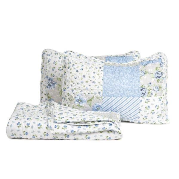 Stylish morgan home brenna 2 piece blue twin floral patchwork quilt Elegant Floral Patchwork Quilt Patterns