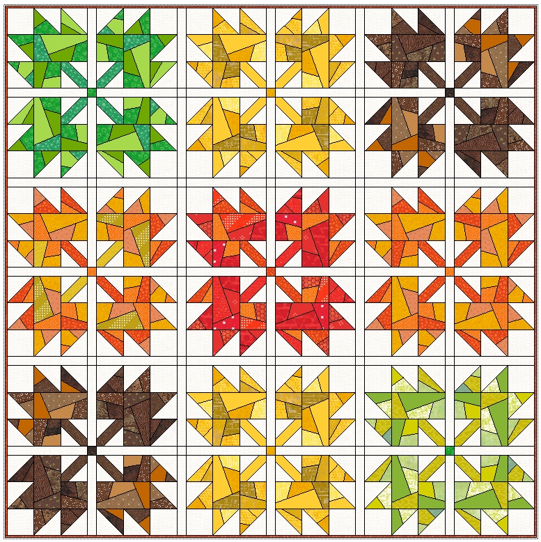 Stylish scrappy maple leaves quilt leila gardunia 9 Elegant Maple Leaf Quilt Patterns Gallery