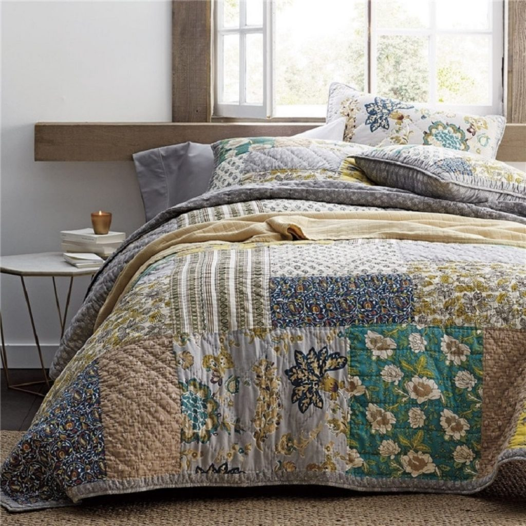 Stylish vintage patchwork bedspread quilt set 3pcs quilted bedding handmade cotton quilts bed covers king size 234269 coverlet blanket 11 Unique Vintage Patchwork Quilt Bedding Gallery