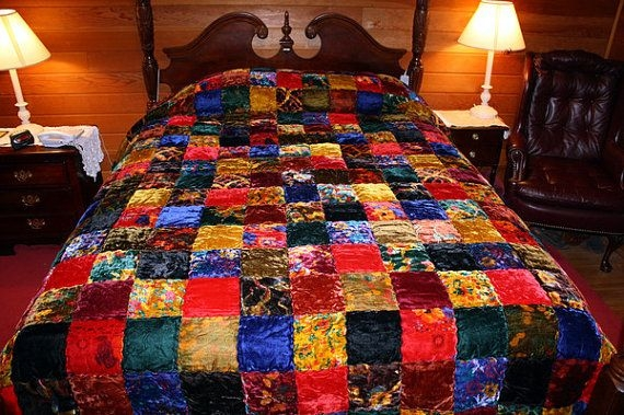 Unique 1970s hippie chic velvet patchwork quilt bedspread 11 Unique Vintage Patchwork Quilt Bedding Gallery
