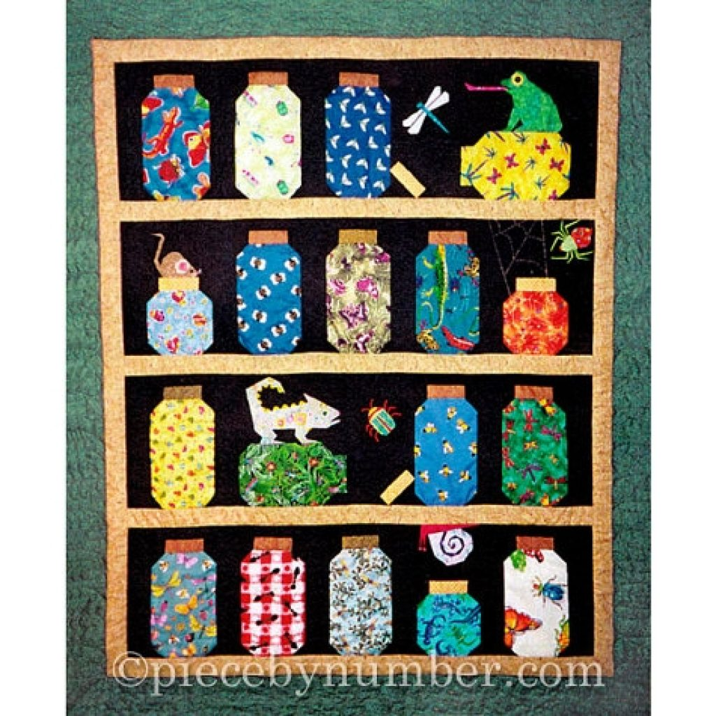 Unique escaping bugs bottle quilt pattern paper pieced quilt etsy New Bugs In A Jar Quilt Pattern