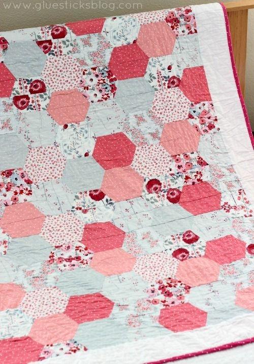 Unique simple hexagon quilt gluesticks pink quilts hexagon 11 Unique Half Hexagon Quilt Pattern Gallery