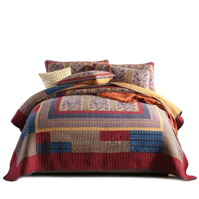 Unique us 11083 32 offchausub cotton bedspread quilt set 3 piece vintage patchwork quilted quilts bed cover pillow case queen size coverlet 11 Unique Vintage Patchwork Quilt Bedding Gallery