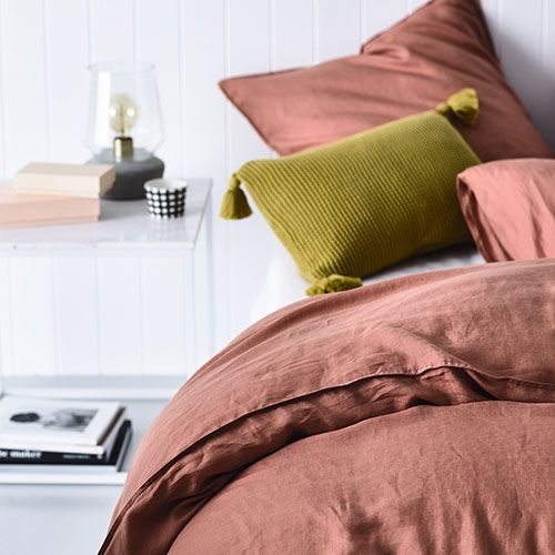 Unique vintage washed linen quilt cover terracotta bed linens 9 Cozy Vintage Linen Quilt Cover Gallery