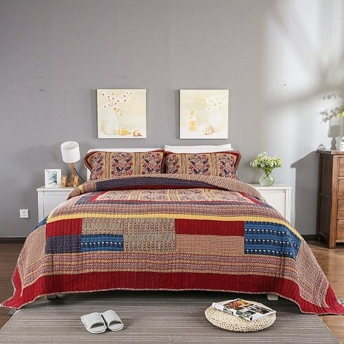 us 11638 31 offquality vintage patchwork quilt set 3pcs quilted bedspread washable cotton quilts bed covers bedspread super king size 11 Unique Vintage Patchwork Quilt Bedding Gallery