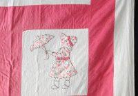 antique 1940 applique sunbonnet sue umbrella girl quilted Elegant Umbrella Girl Quilt Pattern