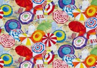 beach vista umbrellas sand Cool Beach Fabric For Quilting