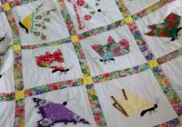 Beautiful hankie quilt quilts vintage handkerchiefs crafts quilt 10 Beautiful Handkerchief Butterfly Quilt Pattern