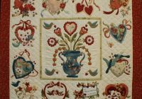 Beautiful vintage valentine love the addition of blue to this quilt 11 Interesting Antique Applique Quilt Patterns