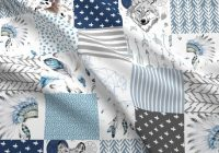 blue wolf cheater quilt fabric 21 boys boho cheater quilt wholecloth shopcabin wolf cotton fabric the yard with spoonflower Unique Cheater Quilt Fabric