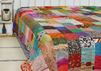bohemian patchwork quilt kantha quilt handmade vintage quilts boho king size bedding throw blanket bedspread quilting hippie quilts for sale Unique Vintage Quilts For Sale