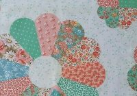 Cozy 13 yd cranston dresden plate cheater quilt fabric coral teal blue flower floral ebay 9 Beautiful Cheater Quilt Fabric Inspirations