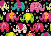 Cozy colorful elephants on black fleece fabric print the yard 10 Beautiful Quilting Fabric Elephant Print Ideas Gallery
