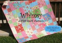 Cozy layer cake quilt pattern whimsy moda ba quilt and throw simple fast easy beginner quilt pattern ten inch squares precuts pdf file 11 Stylish Layer Cake Quilt Patterns By Moda