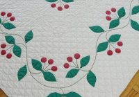 Cozy rare find vintage 1930s applique cherry quilt red green Stylish Antique Applique Quilt Patterns Inspirations
