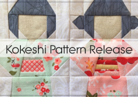 Elegant kokeshi doll quilt block pattern blossom heart quilts 10 Cool Kimono Quilt Paper Piecing