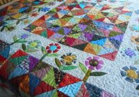 Elegant scrappy patchwork quilt floral quilted throw blanket jewel Elegant Floral Patchwork Quilt Patterns