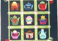 Elegant teapots quilt pattern 40 x 40 at out of hand a whimsical 10 Beautiful Teapot And Teacup Patterns For Quilt Blocks