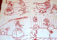 Elegant vintage 1920s redwork vogue nursery quilt and 32 similar items 1920 Quilt Pattern