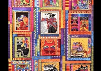 Interesting new laurel burch fabulous felines fabric panel bright 12 9 Cozy Laurel Burch Quilt Fabric