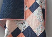 Modern coral ba quilt for girl coral and navy 11 Unique Homemade Quilts Patterns Gallery