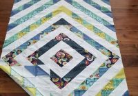 Modern half square triangle quilt top white on whites with blues and greens 41 x 65 inches 10 Beautiful Half Triangle Quilt Inspirations