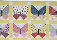 Modern retro fabrics are lovely in this butterfly quilt quilting 10 Unique Butterfly Quilt Pattern Block
