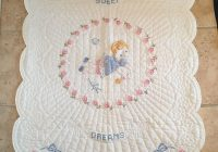 Modern vintage ba quilt hand embroidered and hand quilted 9 Stylish Vintage Baby Quilt Inspirations