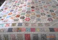 mums vintage hand sewn hexagon patchwork quilt small Hand Sewn Quilt Patterns