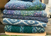 New vintage indigo quilt indigo kantha handmade sari kantha throw indigo vintage kantha blanket reversible kantha quilt vintage wholesale indigo kantha 10 Modern Vintage Kantha Quilt