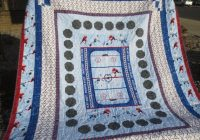 panel quilt pattern hockey soccer stonehenge kids northcott pattern for queen twin lap included Hockey Quilt Pattern