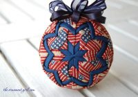 patriotic quilted ball ornament made with longaberger old Modern Quilted Ball Ornament Pattern Inspirations