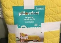 pillowfort triangle stitch quilt fullqueen yellow new oeko Modern Triangle Stitch Quilt And Sham Set Pillowfort Inspirations
