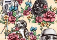 pre order floral wars cream star wars floral star 9   Unique Star Wars Quilting Fabric Inspiration Gallery