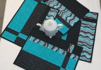 quilted placemat set of 4 turquoise and black placemats modern placemats handmade placemats quilted placemats cotton table decor Stylish Modern Quilted Placemat