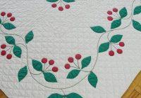 rare find vintage 1930s applique cherry quilt red green Cozy Antique Applique Quilt Patterns Inspirations