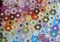 scrap hexagon patchwork quilt quilts hexagon patchwork Unique Hexagon Flower Quilt Pattern Inspirations
