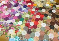 scrappy flower hexagon quilt sewn up Unique Hexagon Patchwork Quilt Patterns Gallery