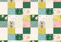 some bunny loves me whole cloth cheater quilt fabric Modern Quilting Fabric Whole