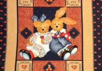 teddy bear bunny ba quilt panel stuffed animals red hearts vintage daisy kingdom 1 yard panel or coordinating heart fabric Cozy Vintage Baby Quilt Panels Gallery