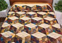 tumbling blocks quilt lovely hand painted batik style Elegant Tumbling Block Quilt Pattern