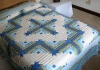 Unique king size log cabin star quilt pattern blue and yellow Cozy King Size Patchwork Quilt Pattern
