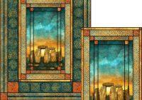 Unique stonehenge solstice stained glass quilt pattern 9   Stonehenge Fabric Quilt Patterns Inspirations