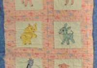 Unique vintage ba quilt applique animals embroided 1950s 10   Vintage Baby Quilt Pattern
