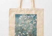 vincent van gogh almond blossoms teal elegance tote bag Interesting Elegant Van Gogh Quilting Fabric Ideas Gallery