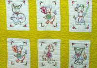vintage ba quilt 12 embroidered cross stitched panels 47 x Cozy Vintage Baby Quilt Panels Gallery